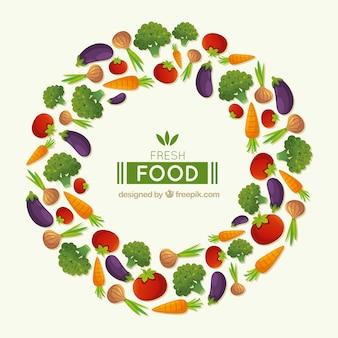 Cornice di cibo sano con design piatto