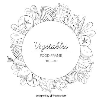 Cornice di cibo sano con stile disegnato a mano