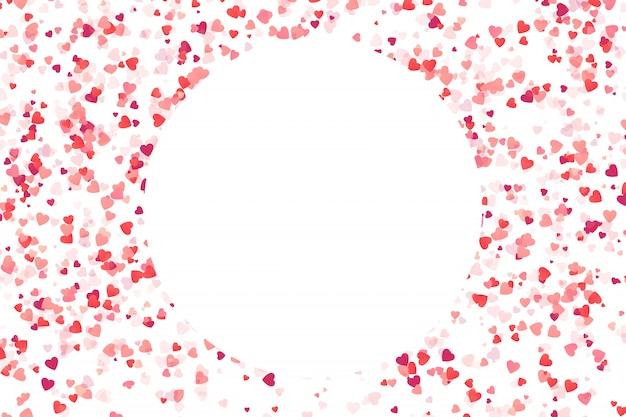 Cornice di coriandoli cuore rosa su sfondo bianco. concetto di buon compleanno, festa, evento romantico e vacanze.