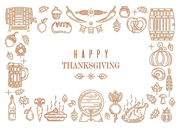 Cornice di design di elementi autunnali per il giorno del ringraziamento. felice ringraziamento. illustrazione