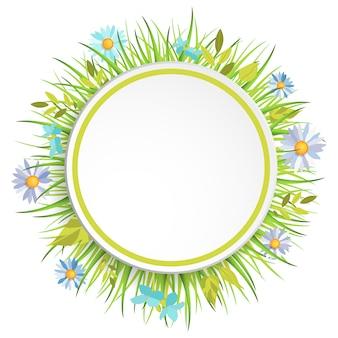 Cornice di erba di primavera con fiori per la decorazione.
