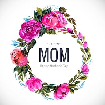 Cornice di fiori bella cartolina d'auguri festa della mamma