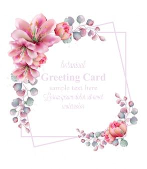 Cornice di fiori d'acquerello ghirlanda di giglio