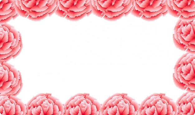 Cornice di fiori di garofano rosa
