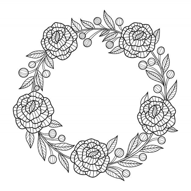 Cornice di fiori disegnati a mano. corona