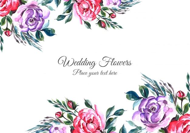 Cornice di fiori incantevoli con modello di carta widding
