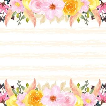 Cornice di fiori primaverili colorati con sfondo giallo astratto