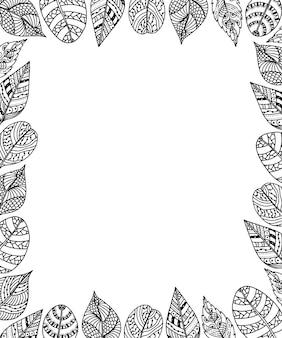 Cornice di foglie con sfondo di ornamento etnico. design tribale.