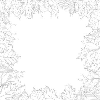 Cornice di foglie d'autunno in stile schizzo
