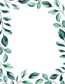 Cornice di foglie verdi dell'acquerello di nozze.