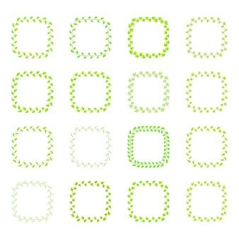 Cornice di foglie verdi diverse specie