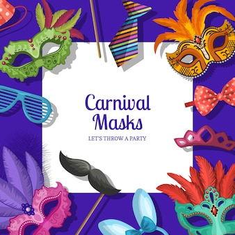 Cornice di fondo con posto per il testo con maschere e accessori per feste