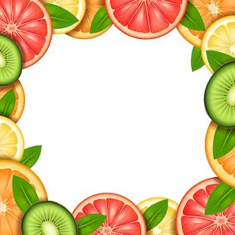 Cornice di frutta con fette di arancia kiwi limone e bordo di pompelmo