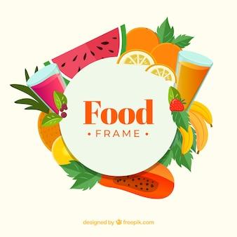 Cornice di frutta fresca con design piatto