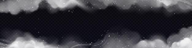 Cornice di fumo, bordo orizzontale con nuvole di smog bianche e particelle isolate su trasparente