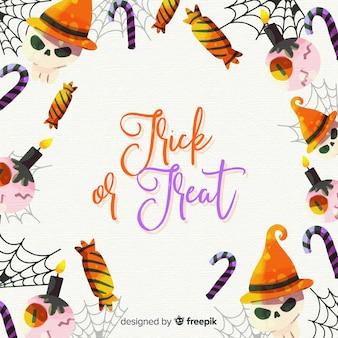 Cornice di halloween ad acquerello