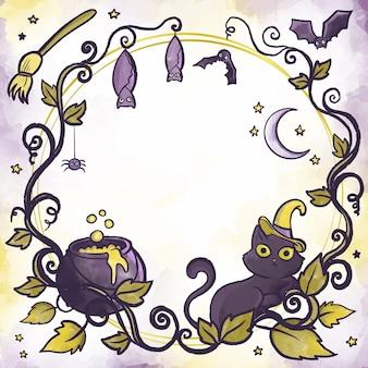 Cornice di halloween di disegno ad acquerello
