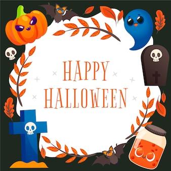 Cornice di halloween disegnata con messaggio