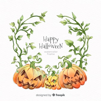 Cornice di halloween zucca dell'acquerello