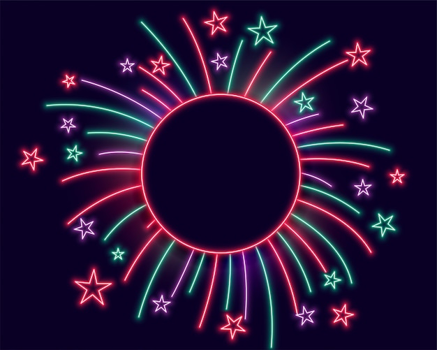 Cornice di luci al neon di fuochi d'artificio con spazio di testo