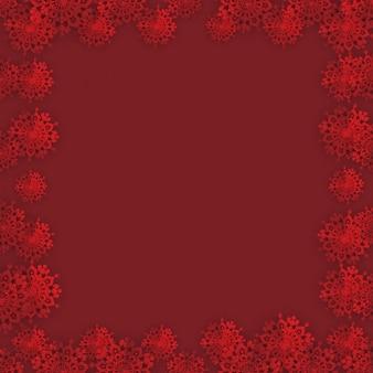 Cornice di natale rosso con bordo composizione fiocchi di neve di carta