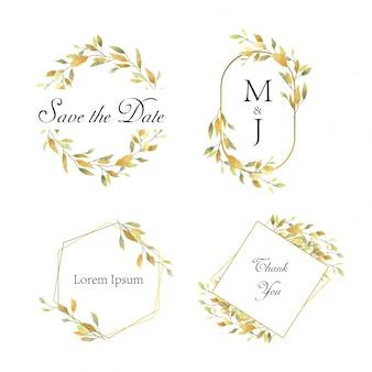 Cornice di nozze con foglie gialle stile acquerello