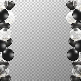 Cornice di palloncini bianco e nero realistico