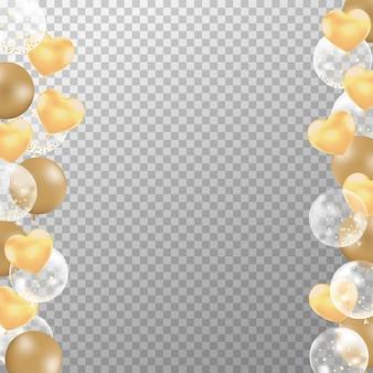 Cornice di palloncini d'oro realistici per biglietto d'auguri.
