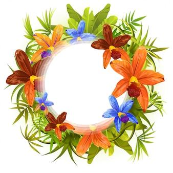 Cornice di piante stilizzate, foglie e orchidee di fiori.