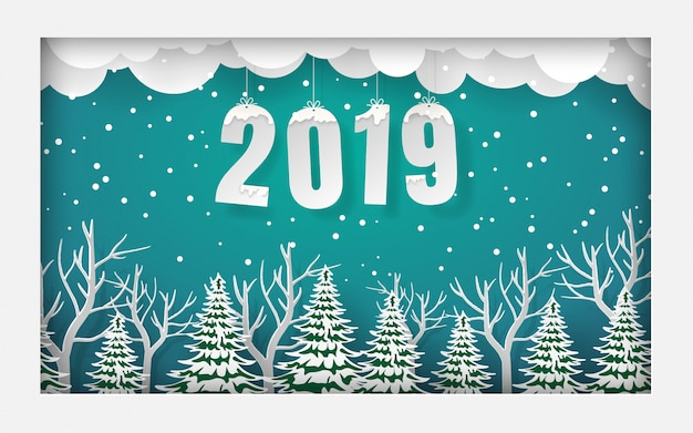 Cornice di pineta con testo 2019,