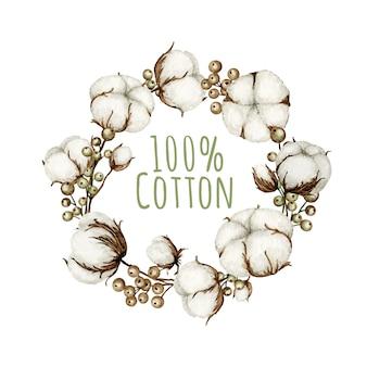 Cornice di rami di fiori di cotone dell'acquerello. illustrazione disegnata a mano botanica del prodotto di eco.