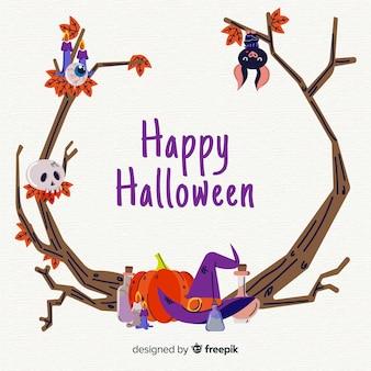 Cornice di rami di halloween disegnati a mano