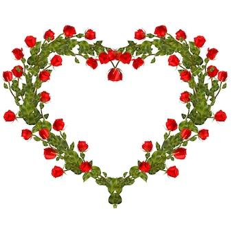 Cornice di rose a forma di cuore.
