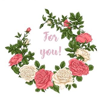 Cornice di rose di corallo. disegno a mano