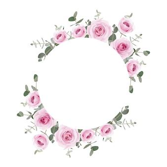 Cornice di rose floreali e foglie di eucalipto