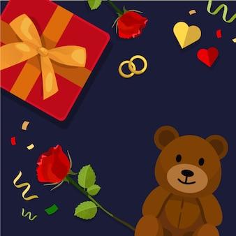 Cornice di scatola regalo con rosa