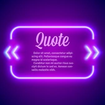 Cornice di segni di citazione incandescente al neon retrò hipster