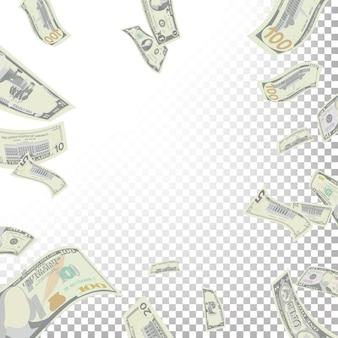 Cornice di sfondo da banconote in dollari volanti