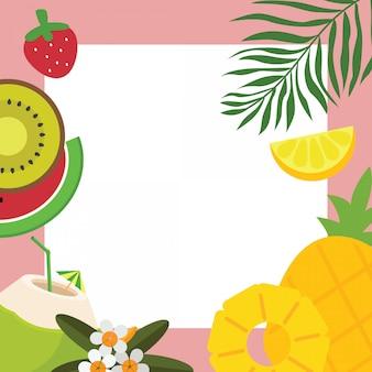 Cornice di sfondo di frutta tropicale, fiori e foglie