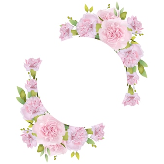 Cornice di sfondo floreale con garofani rosa