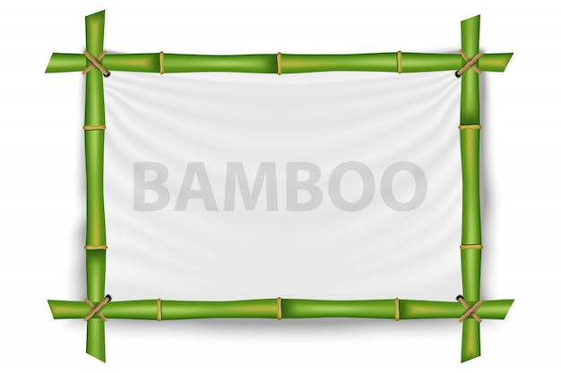 Cornice di steli di bambù, modello mockup vuoto.
