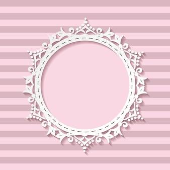Cornice di taglio carta carina su sfondo trasparente a strisce.