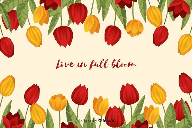 Cornice di tulipani con un messaggio potente