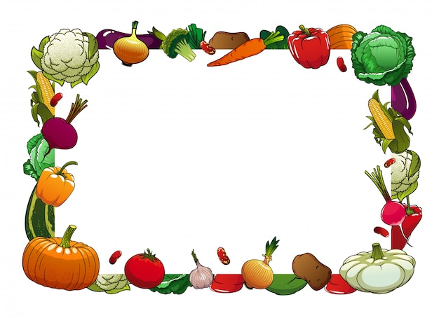 Cornice di verdure mature di fattoria