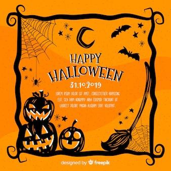 Cornice disegnata a mano arancione di halloween