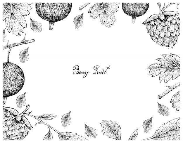 Cornice disegnata a mano di uva spina e lamponi dorati