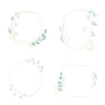 Cornice dorata con corona di foglie verde acquerello