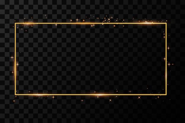 Cornice dorata con effetti di luce. banner rettangolo brillante. isolato