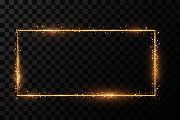 Cornice dorata con effetti di luce. banner rettangolo brillante.