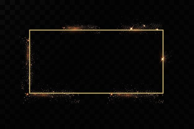 Cornice dorata con effetti di luci. striscione rettangolo splendente.